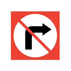 Idaho no right turn road sign