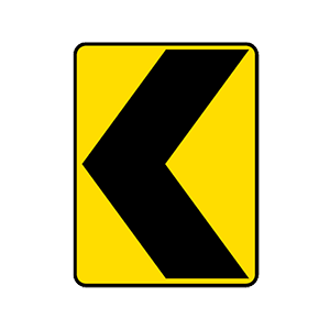alabama warns of sharp turn or curve in direction of arrow road sign