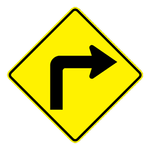 arizona sharp right turn road sign