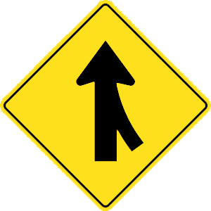 california merging traffic road sign