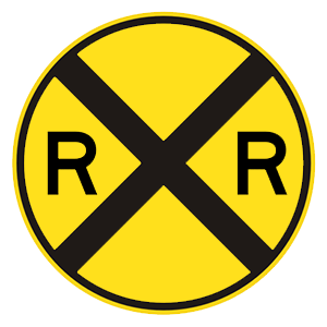 california railroad crossing road sign