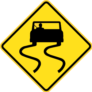 california slippery when wet road sign