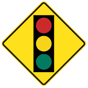 california traffic signal ahead road sign