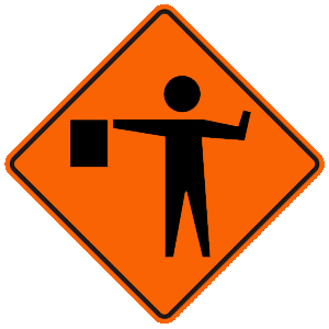 connecticut flagger road sign