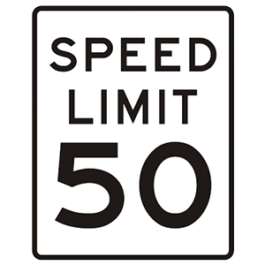 connecticut speed limit 50 road sign