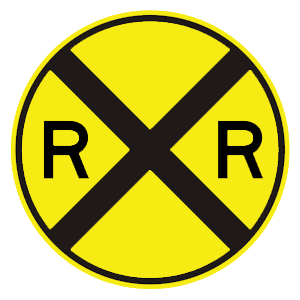 district of columbia railroad crossing ahead road sign