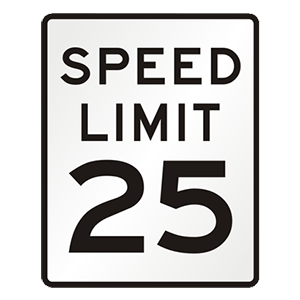 district of columbia speed limit 25 road sign