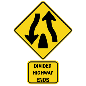 georgia divided highway ends 2 road sign