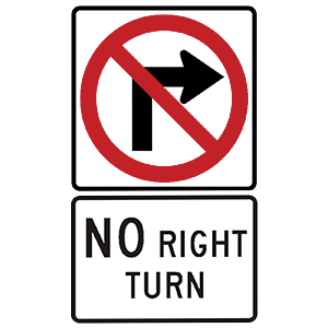 georgia no right turn road sign