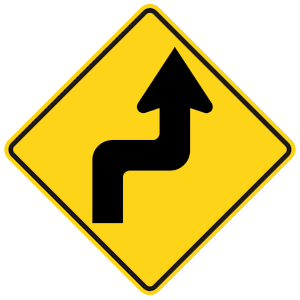 georgia sharp turn right road sign