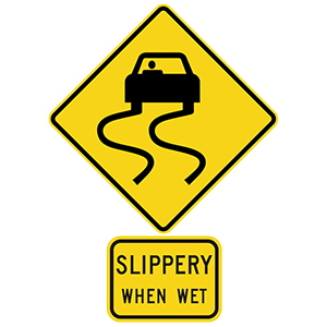 georgia slippery when wet road sign