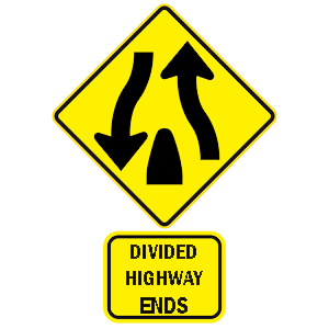 hawaii divided highway ends road sign