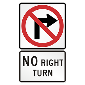 hawaii no righit turn road sign