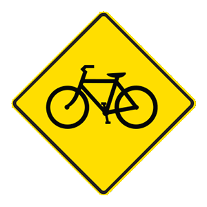 indiana bicycle crossing road sign