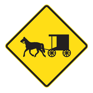 indiana buggy warning road sign