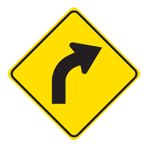 indiana curve ahead road sign