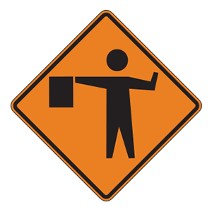 indiana flagger ahead road sign