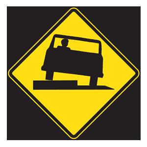 indiana low shoulder road sign