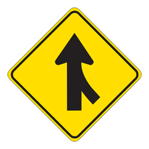 indiana merging traffic road sign