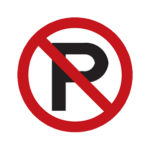 indiana no parking road sign