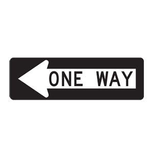 indiana one way road sign