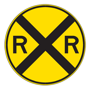 indiana railroad crossing road sign