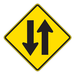 indiana two way traffic road sign