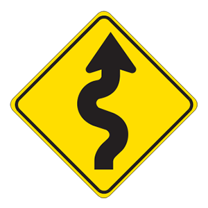 indiana winding road road sign
