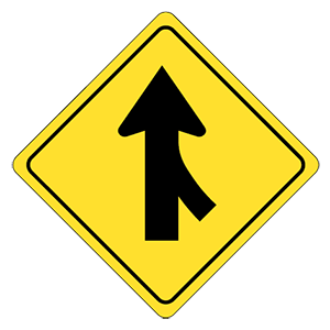 iowa merging traffic road sign