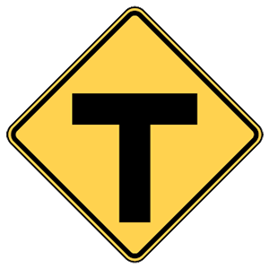 maryland t intersection ahead road sign