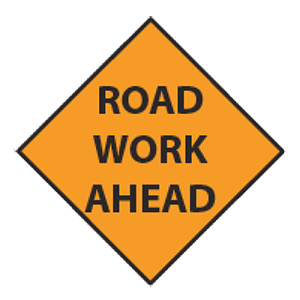montana road work ahead road sign