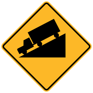 new york hill ahead road sign