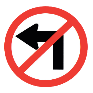 new york no left turn road sign