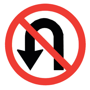 new york no u turn road sign
