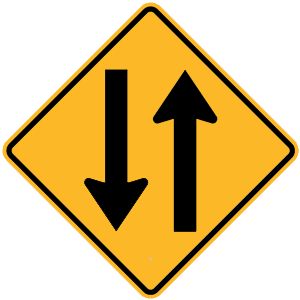 new york two way traffic road sign