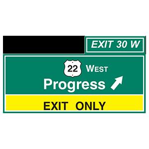 pennsylvania progress exit only road sign