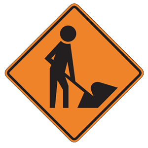 pennsylvania workers ahead road sign
