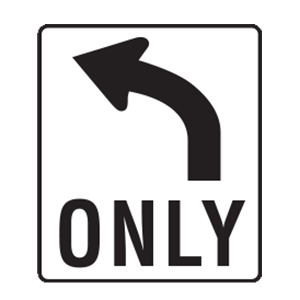 tennessee only left road sign