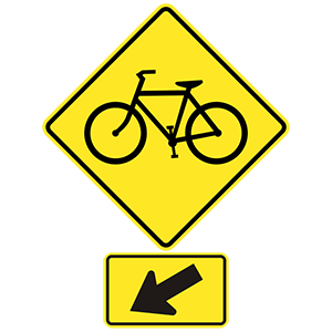 virginia bicycle crossing left road sign