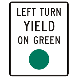 virginia left turn yield on green road sign