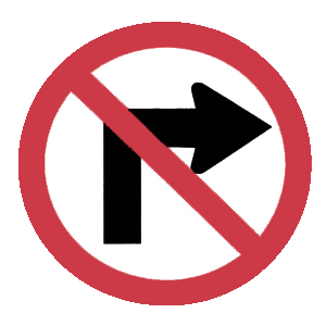 virginia no right turn road sign