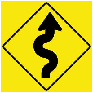 virginia winding road ahead road sign