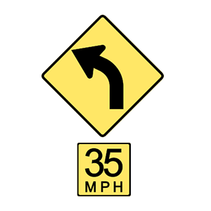 washington curve left 35 mph or less recommended road sign