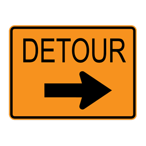 washington detour road sign