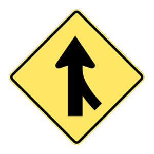 washington merging traffic road sign