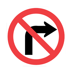 washington no turn to the right road sign