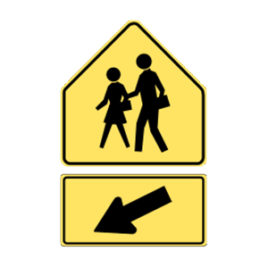 washington school crossing road sign