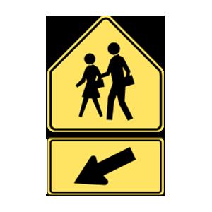 washington school crossing road sign