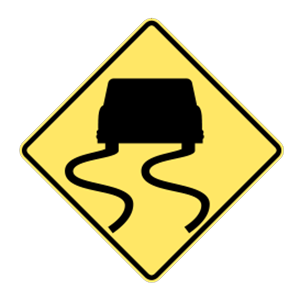 washington slippery when wet road sign